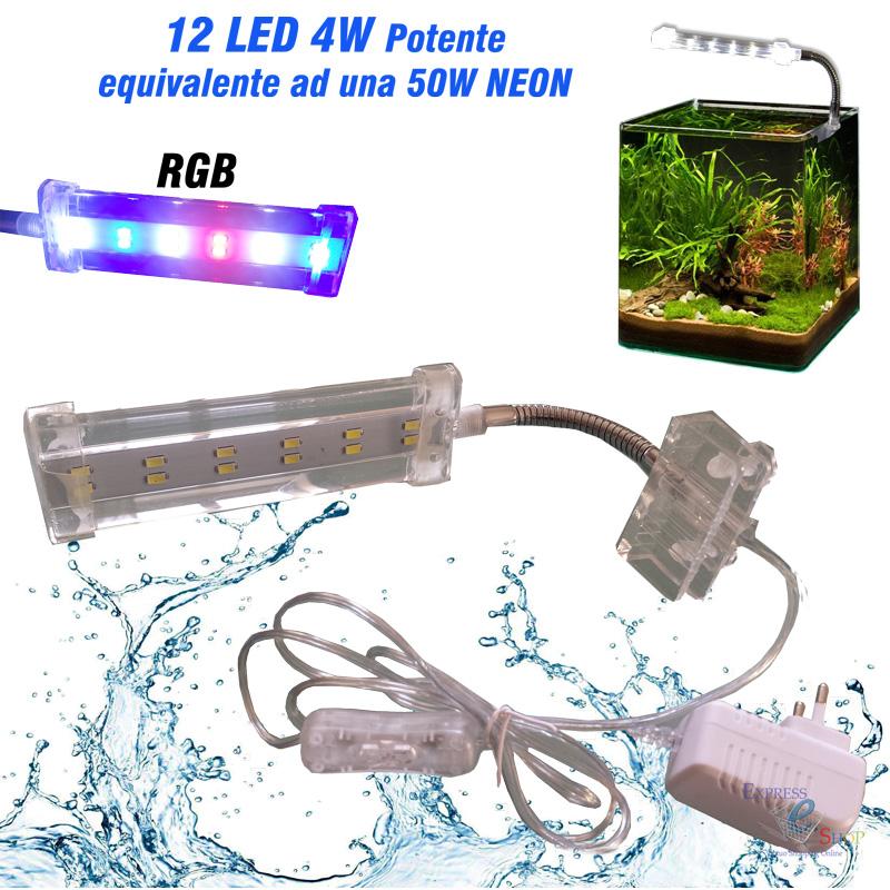 Lampada plafoniera led per acquario illuminazione 4w for Lampada acquario